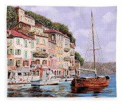 La Barca Rossa Alla Calata Fleece Blanket