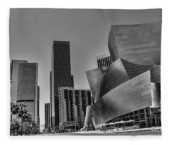 Los Angeles Gehry Architecture  Black N White Fleece Blanket