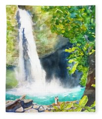 La Fortuna Waterfall Fleece Blanket