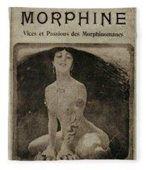 'la Morphine' Vintage Pharmaceutical Apothecary Poster Ad Fleece Blanket