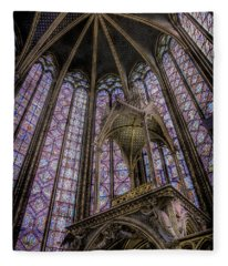 Paris, France - La-sainte-chapelle - Apse And Canopy Fleece Blanket