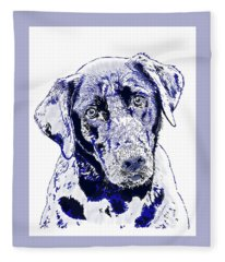 Labrador Dog With The Blues I Fleece Blanket