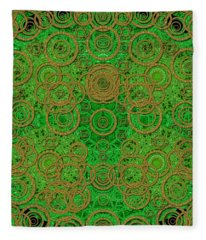 Lace And Fantasy Meadow In Green Fleece Blanket