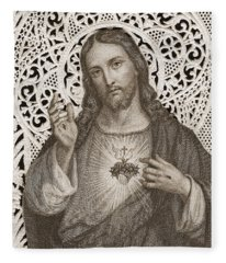 Lace Card Depicting The Sacred Heart Of Jesus Fleece Blanket