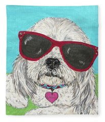 Laci With Shades Fleece Blanket