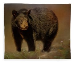 Black Bear In The Fall Fleece Blanket