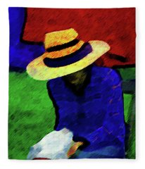 Lady And Puppy Painting Fleece Blanket