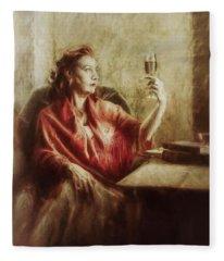 Lady By The Window Fleece Blanket