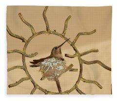 Lady Hummingbird On Her Nest Fleece Blanket