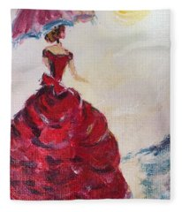 Lady In A Red Dress Fleece Blanket