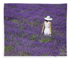 Lady In Lavender Field Fleece Blanket