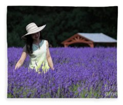 Lady In Lavender Fleece Blanket