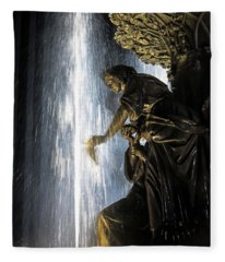Lady In The Fountain Fleece Blanket
