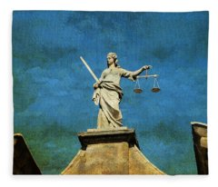 Lady Justice. Streets Of Dublin. Painting Collection Fleece Blanket