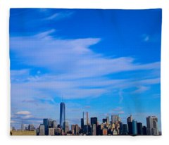 Lady Liberty Watching New York City Fleece Blanket