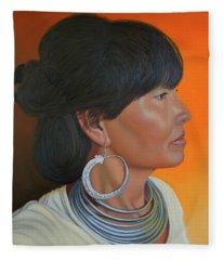 Lady Of Sapa Fleece Blanket