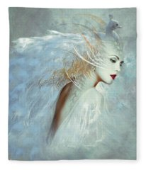 Lady Of The White Feathers Fleece Blanket