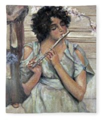 Lady Playing Flute Fleece Blanket