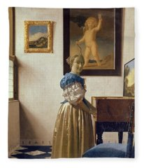 Lady Standing At The Virginal Fleece Blanket