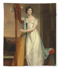 Lady With A Harp Fleece Blanket
