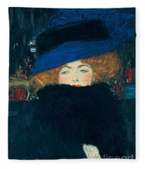 Lady With A Hat And A Feather Boa Fleece Blanket