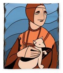 Lady With An Ermine By Piotr Fleece Blanket