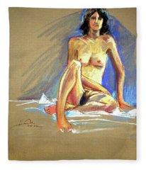 Lady With Blue Fleece Blanket