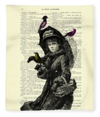 Lady With Umbrella In Winter Landscape Print On Old Book Page Fleece Blanket