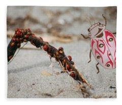 Ladybug Highway Fleece Blanket