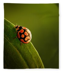 Ladybug  On Green Leaf Fleece Blanket