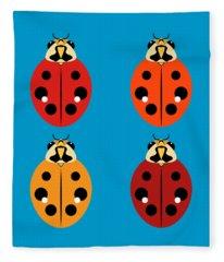 Ladybug Quartet Fleece Blanket