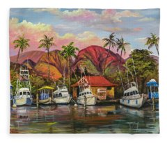 Fleece Blanket featuring the painting Lahaina Harbor Sunset by Darice Machel McGuire
