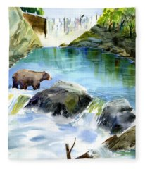 Lake Clementine Falls Bear Fleece Blanket
