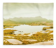 Lake Cumberland, Western Tasmania Fleece Blanket