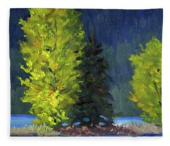 Lake Cushman Trees Fleece Blanket