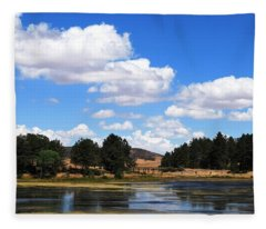 Lake Cuyamac Landscape And Clouds Fleece Blanket