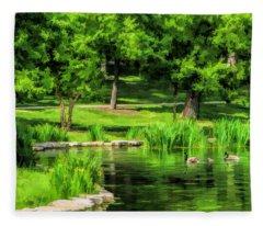 Lake Ellyn Geese Fleece Blanket
