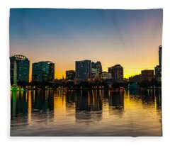 Lake Eola Sunset Fleece Blanket
