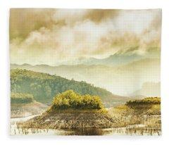 Lake Gordon Landscape Fleece Blanket