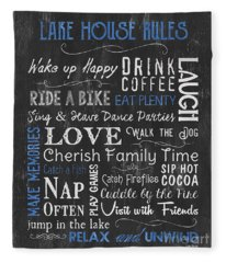 Lake House Rules Fleece Blanket