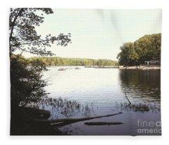 Lake At Burke Va Park Fleece Blanket