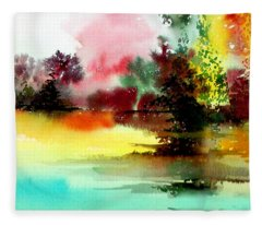 Lake In Colours Fleece Blanket
