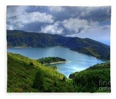 Lake In The Azores Fleece Blanket