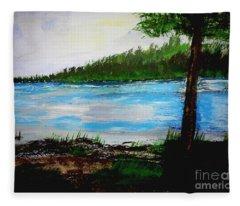 Lake In Virginia The Painting Fleece Blanket