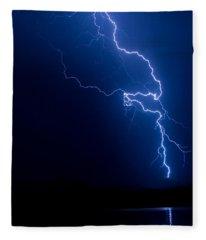 Lake Lightning Strike Fleece Blanket