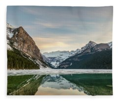 Lake Louise Sunset Fleece Blanket