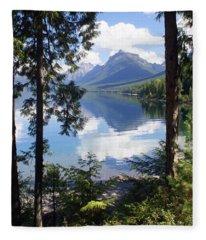Lake Mcdlonald Through The Trees Glacier National Park Fleece Blanket