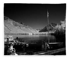 Lake Mcdonald Boat Dock Fleece Blanket