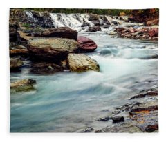 Lake Mcdonald Falls, Glacier National Park, Montana Fleece Blanket
