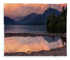 Lake Mcdonald Sunset Fleece Blanket